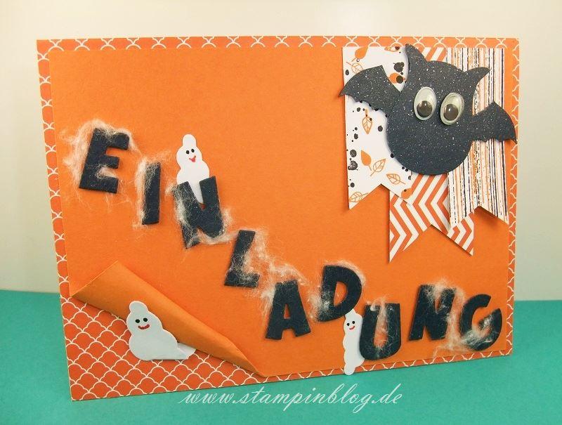 Halloween-Einladung-Kürbisgelb-Stampin-Gesamt