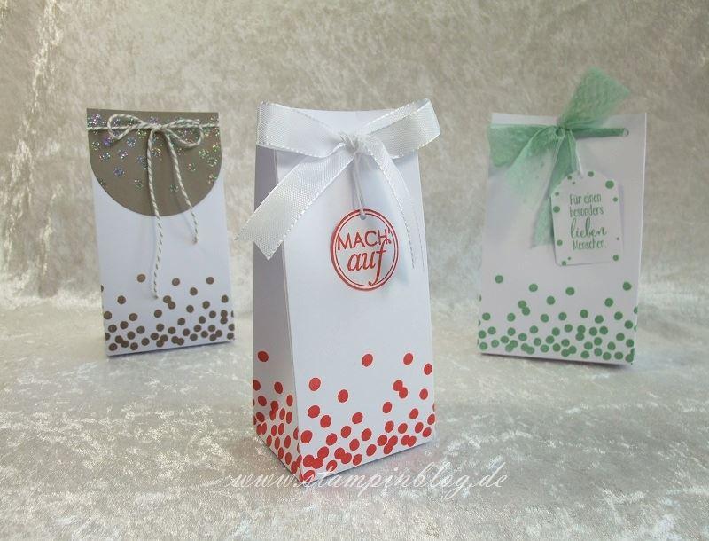 Geschenktüte-Tüte-Verpackung-Glitter-Heißklebepulver-Melonensorbet-Stampin