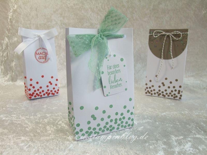 Geschenktüte-Tüte-Verpackung-Glitter-Heißklebepulver-Minzmakrone-Stampin