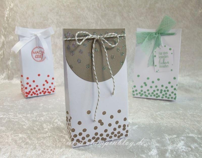 Geschenktüte-Tüte-Verpackung-Glitter-Heißklebepulver-Taupe-Stampin