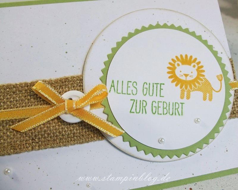 Geburt-Baby-Löwe-Zoo-Babies-Schleife-Perlen-Wasabigrün-Curry-Gelb-Stampinblog-Stampin