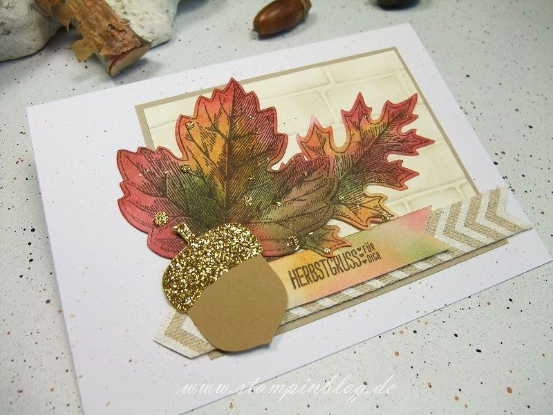 Herbst-Blätter-Eichel-glitzer-ockerbraun-chili-waldmoos-Stampinblog-Stampin