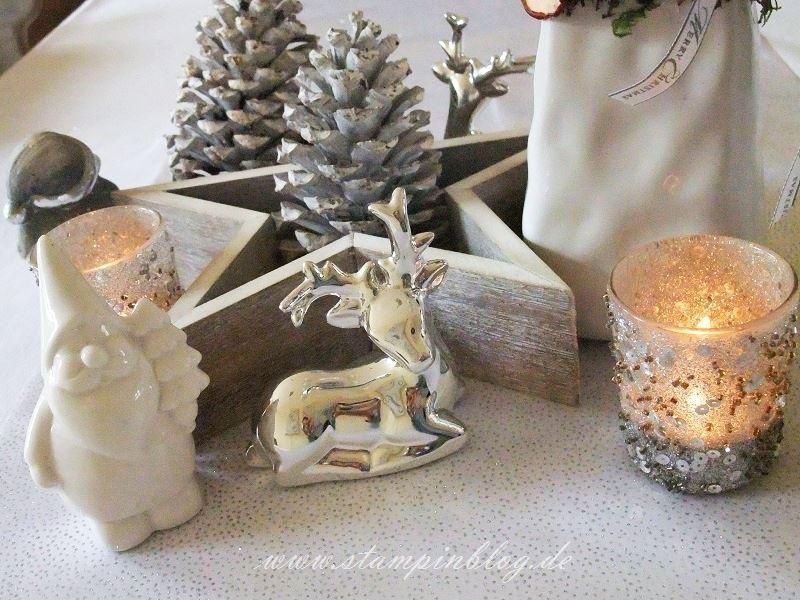 Weihnachten-Advent-Deko-Tischdeko-Kerze-Schneemann-Rentier-Reh-Stampinblog