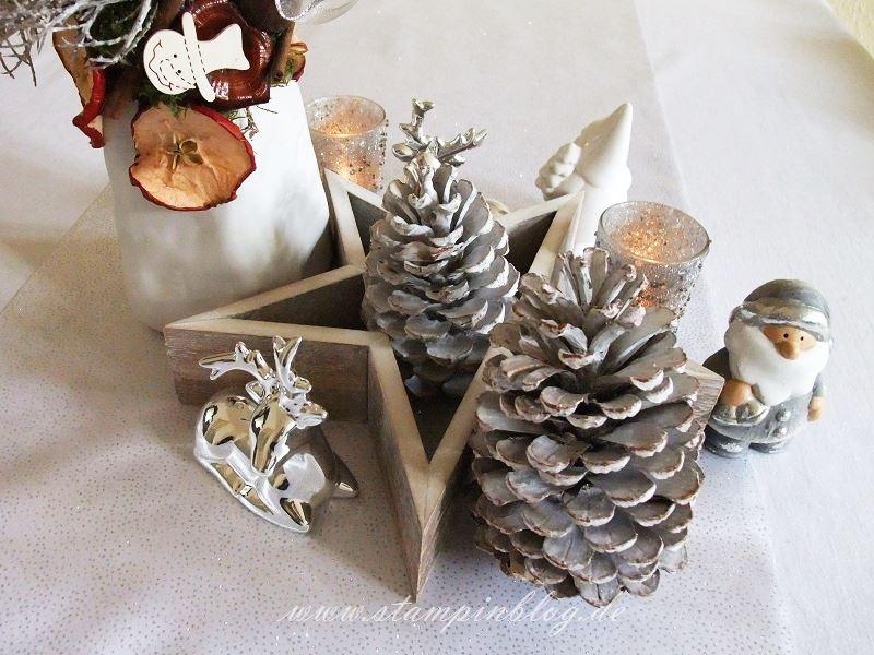 Weihnachten-Advent-Deko-Tischdeko-Kerze-Schneemann-Tannenzapfen-Reh-Stampinblog