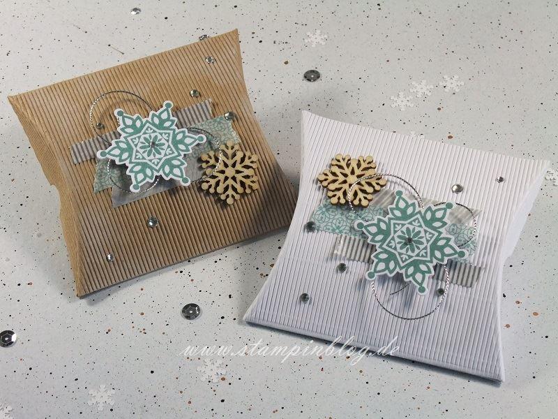 Verpackung-Pillow-Box-quadratisch-square-Weihnachten-Winter-Schneeflocken-Stampinblog-Stampin