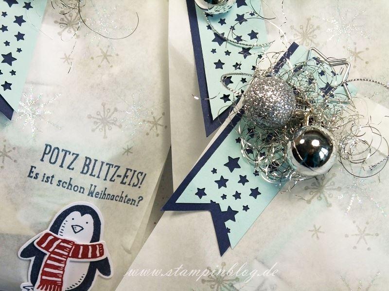 Verpackung-Weihnachten-Advent-Geschenktüte-Tüte-Pergamintüte-Pinguin-Silber-Glöckchen-Stampinblog-Stampin