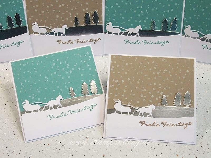 Weihnachten-Weihnachtskarte-Schlittenfahrt-Edgelits-es-schneit-silber-lagunenblau-taupe-Stampinblog-Stampin