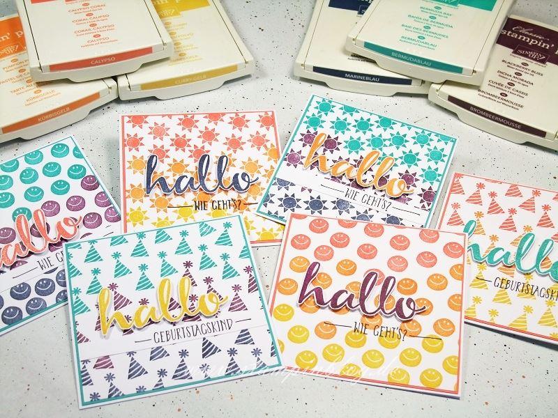 Geburtstag-Party-Hallo-Hintergrund-Regenbogen-Bermudablau-Marineblau-Brombeermousse-Stampinblog-Stampin
