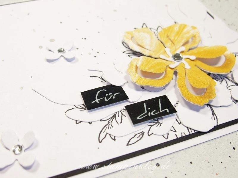 Geburtstag-Glückwunsch-Blumen-schwarz-weiß-Curry-Gelb-Botanical-Blooms-Awesomely-Stampinblog-Stampin