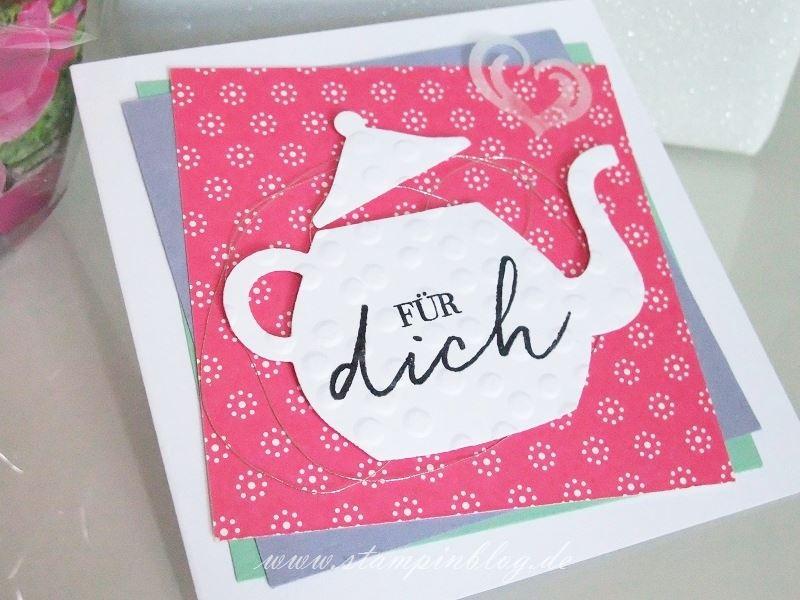 Geburtstag-Glückwunsch-Blumen-Tee-Teestunde-Teekanne-silber-wassermelone-blauregen-Stampinblog-Stampin