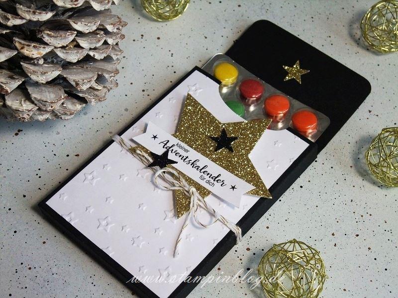 Adventskalender-to-go-Schokolinsen-schwarz-gold-Stern-Stampinblog-Stampin