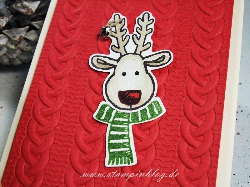 Weihnachten-Weihnachtskarte-Elch-Strickmuster-Glöckchen-Stampinblog-Stampin