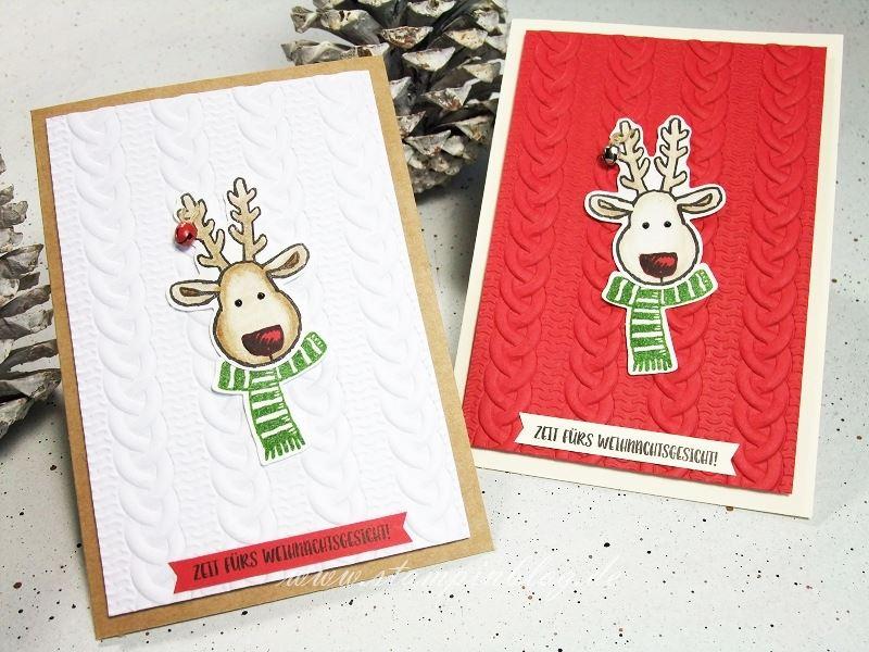 Weihnachten-Weihnachtskarte-Elch-Strickmuster-Stampinblog-Stampin