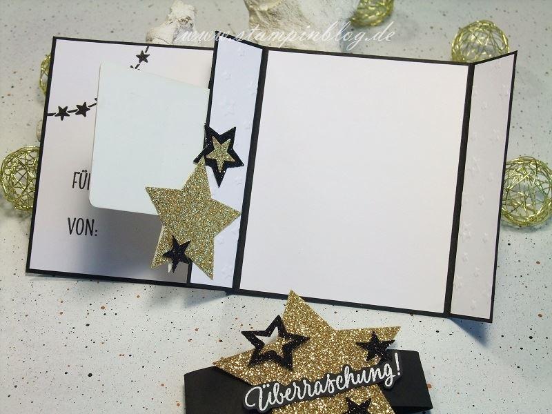 Weihnachten-Gutschein-Karte-Sterne-glitzer-gold-schwarz-Stampinblog-Stampin