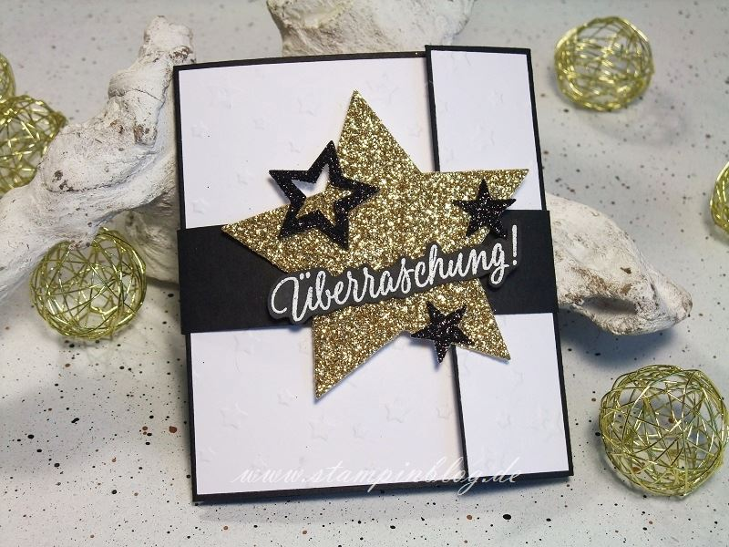 Weihnachten-Gutschein-Karte-Sterne-gold-schwarz-Stampinblog-Stampin