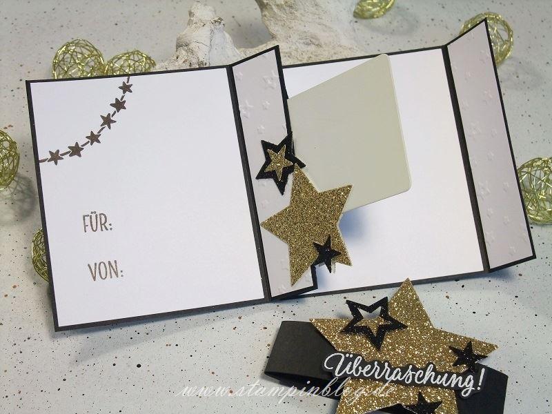Weihnachten-Gutschein-Karte-Sterne-gold-schwarz-glitzer-Stampinblog-Stampin