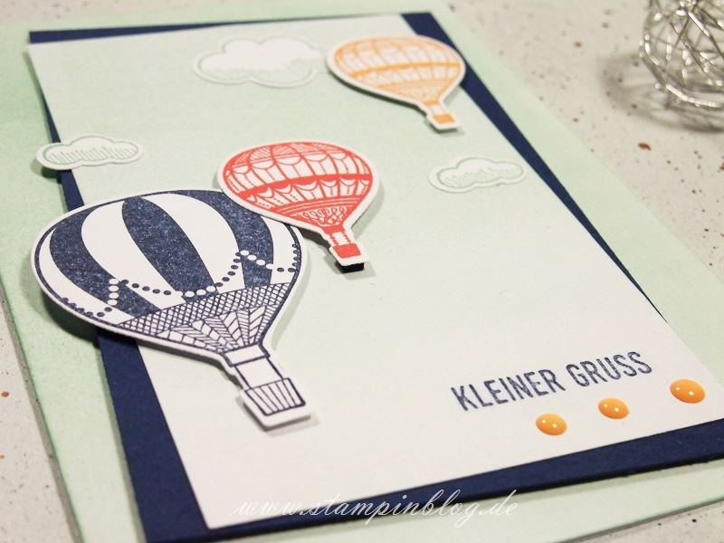 Grüße-Karte-Heißluftballon-Ballon-Abgehoben-Stampinblog-Stampin