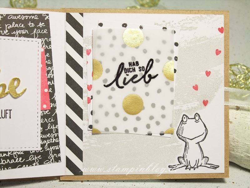 Album-Valentinstag-Liebe-Herz-Frosch-pink-schwarz-gold-Stampinblog-Stampin