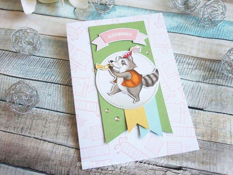 DSP Nostalgischer Geburtstag: Geburtstagskarte mit Waschbär
