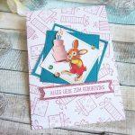 DSP Nostalgischer Geburtstag: Geburtstagskarte mit Häschen