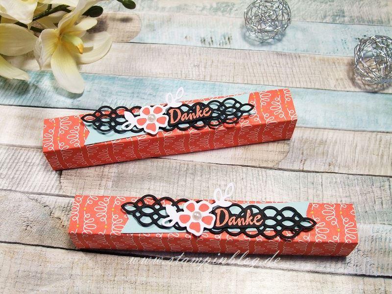 Geschenkverpackung mit dem DSP Einfach Spritzig und Blüten, Blätter & Co.