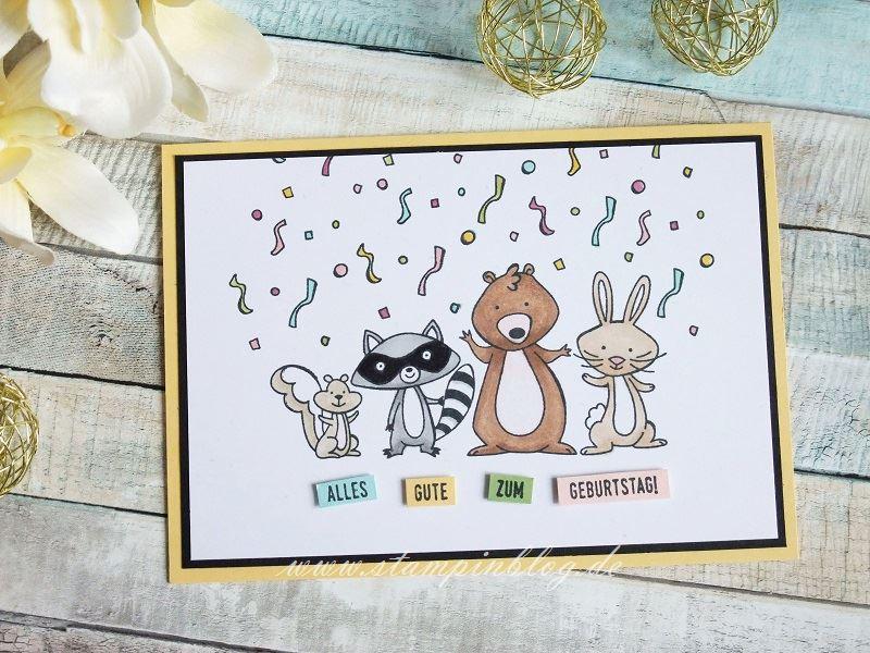 Tierische Geburtstagsgrüße mit Konfettiregen