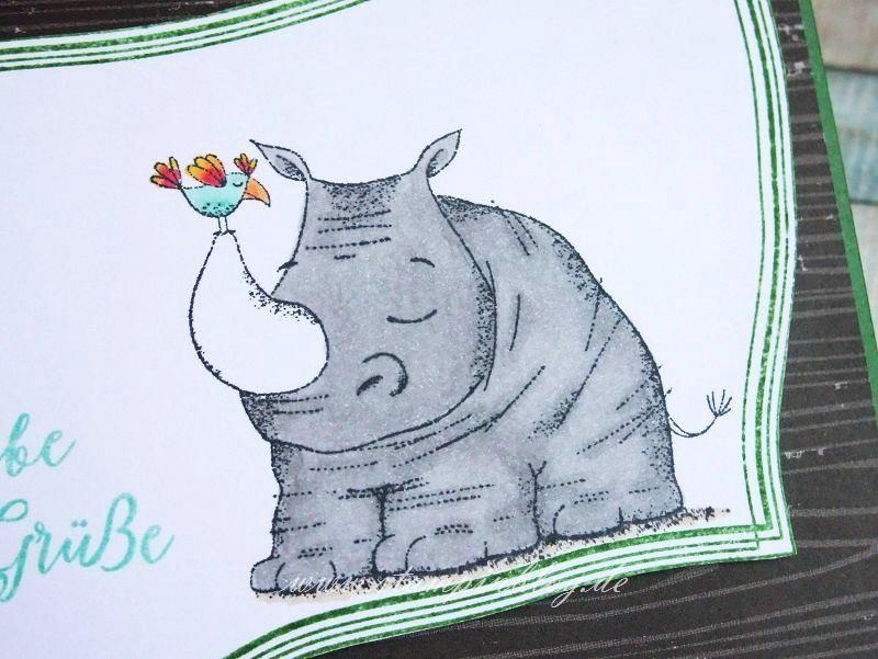 Liebe Grüße mit Nashorn   Stampinblog