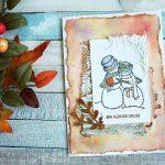 Verliebtes Schneepärchen im Vintage-Look