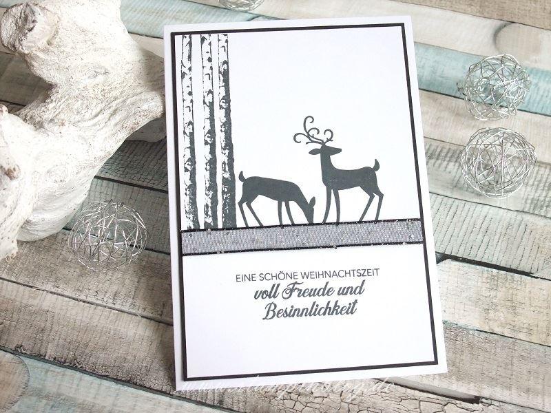 Weihnachtskarte in Schwarz-Weiß