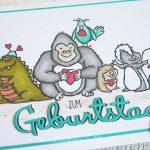 Grußkärtchen mit Affe und Hamster